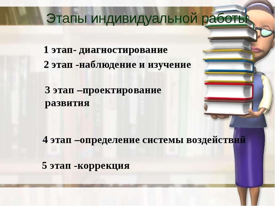 Этапы индивидуальной работы 1 этап- диагностирование 2 этап -наблюдение иизу...