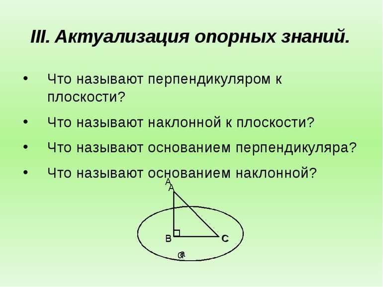 Актуализация опорных знаний. Что называют перпендикуляром к плоскости? Что на...