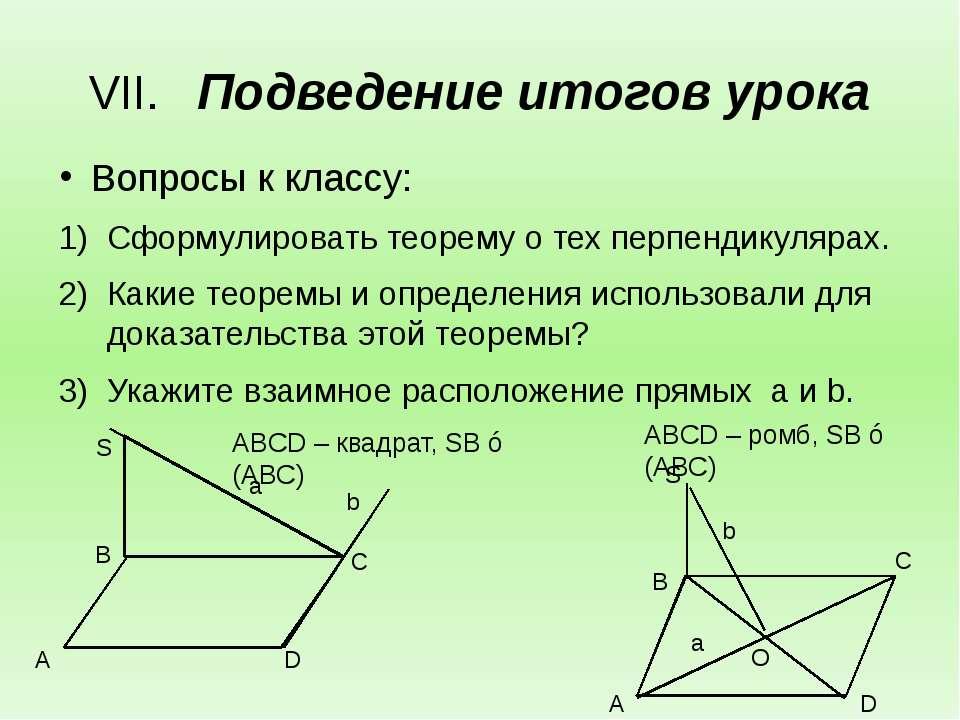 Подведение итогов урока Вопросы к классу: Сформулировать теорему о тех перпен...