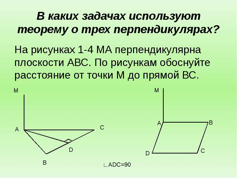 В каких задачах используют теорему о трех перпендикулярах? На рисунках 1-4 МА...