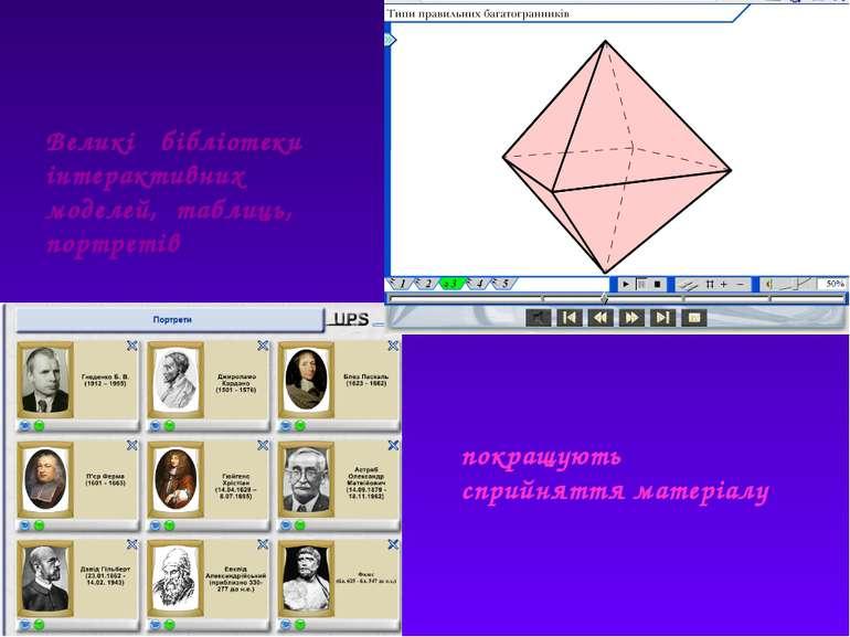 Великі бібліотеки інтерактивних моделей, таблиць, портретів покращують сприйн...