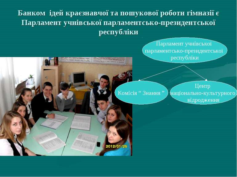 Банком ідей краєзнавчої та пошукової роботи гімназії є Парламент учнівської п...