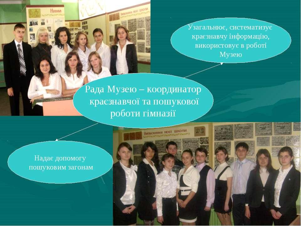 Рада Музею – координатор краєзнавчої та пошукової роботи гімназії Надає допом...