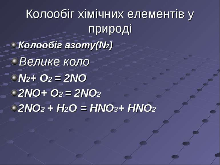 Колообіг хімічних елементів у природі Колообіг азоту(N2) Велике коло N2+ O2 =...
