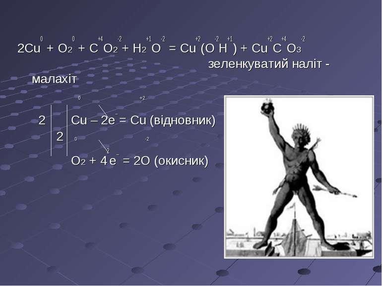 2Cu0 + O20 + C+4O2-2+ H2+1O-2 = Cu+2(O-2H+1) + Cu+2C+4O3-2 зеленкуватий наліт...