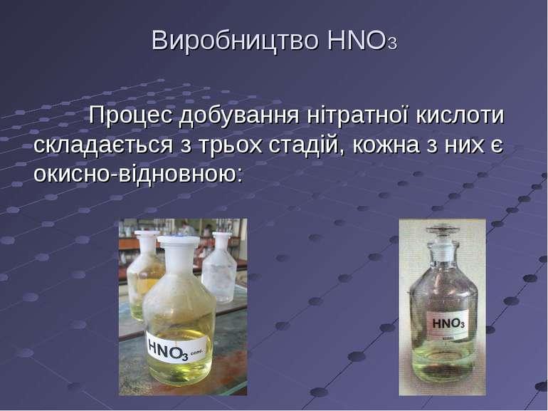 Виробництво HNO3 Процес добування нітратної кислоти складається з трьох стаді...