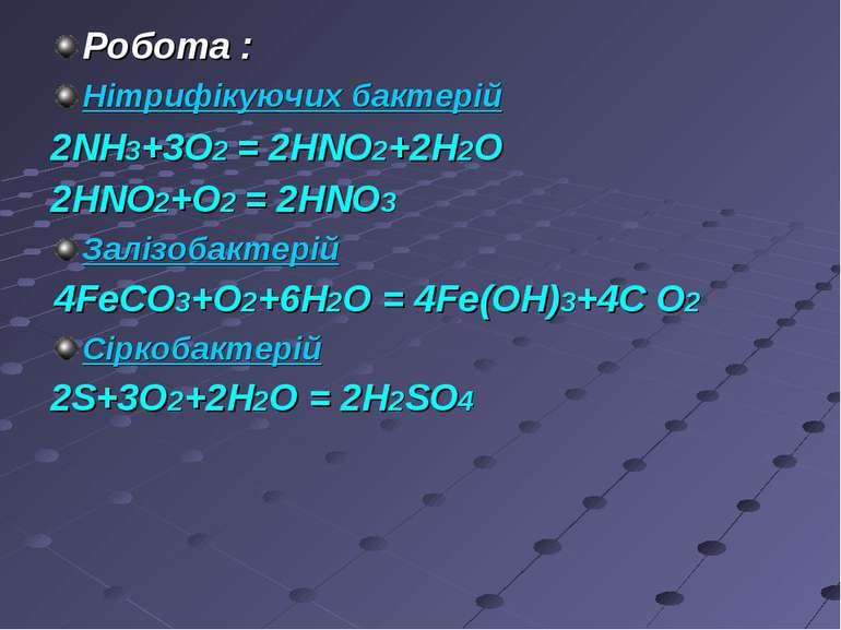Робота : Нітрифікуючих бактерій 2NH3+3O2 = 2HNO2+2H2O 2HNO2+O2 = 2HNO3 Залізо...