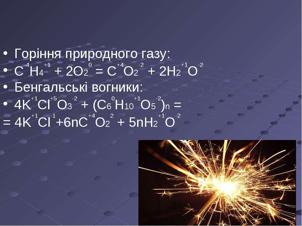 Горіння природного газу: C-4H4+1+ 2O20= С+4О2-2+ 2Н2+1О-2 Бенгальські вогн...