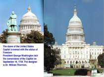 The dome of the United States Capitol crowned with the statue of Freedom Pres...