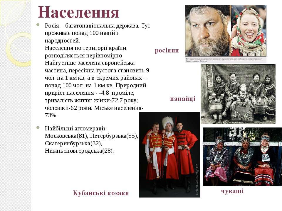 Населення Росія – багатонаціональна держава. Тут проживає понад 100 націй і н...