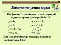 Виконання усних вправ Які функції є лінійними, а які з функцій задають пряму ...
