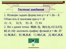 1. Функцію задано формулою у = х2 + 2х – 3. Обчисліть її значення при х = -2....