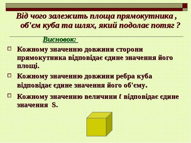 Від чого залежить площа прямокутника , об'єм куба та шлях, який подолає потяг...