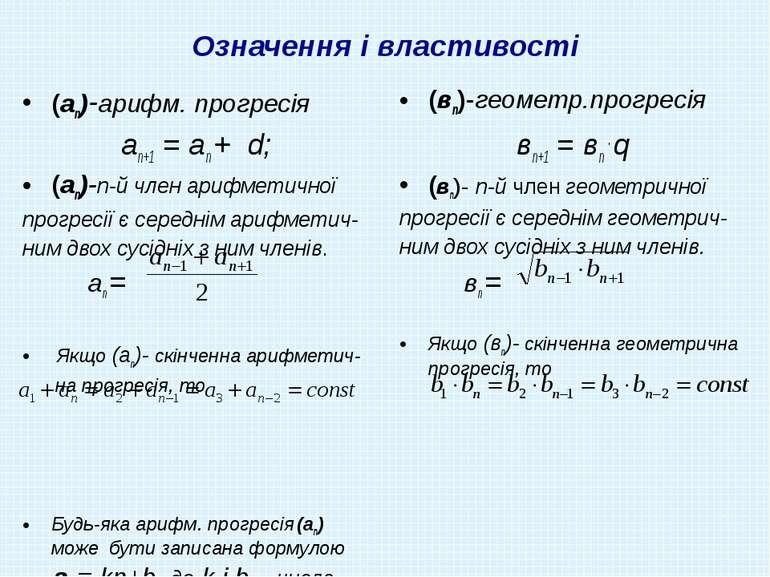 Означення і властивості (аn)-арифм. прогресія аn+1 = аn + d; (аn)-n-й член ар...