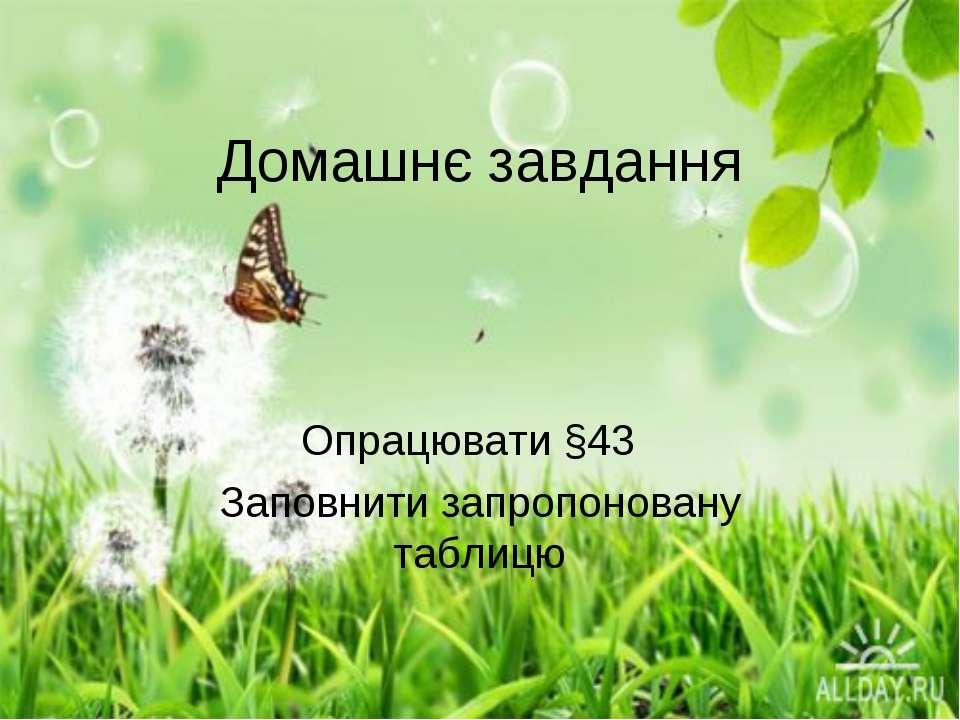 Домашнє завдання Опрацювати §43 Заповнити запропоновану таблицю