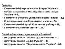 Грамоти Грамотою Міністерства освіти і науки України – 1; Почесною грамотою М...