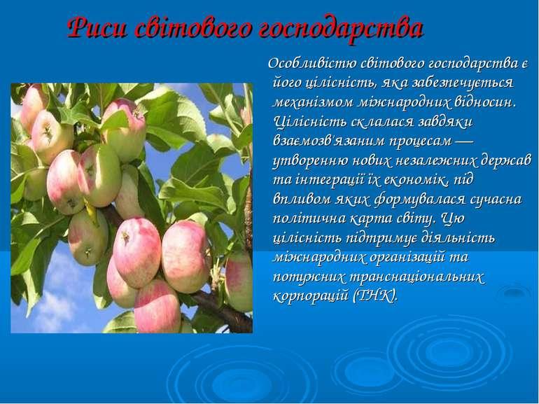 Риси світового господарства Особливістю світового господарства є його цілісні...