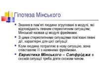 Гіпотеза Мінського Знання в пам'яті людини згруповані в модулі, які відповіда...
