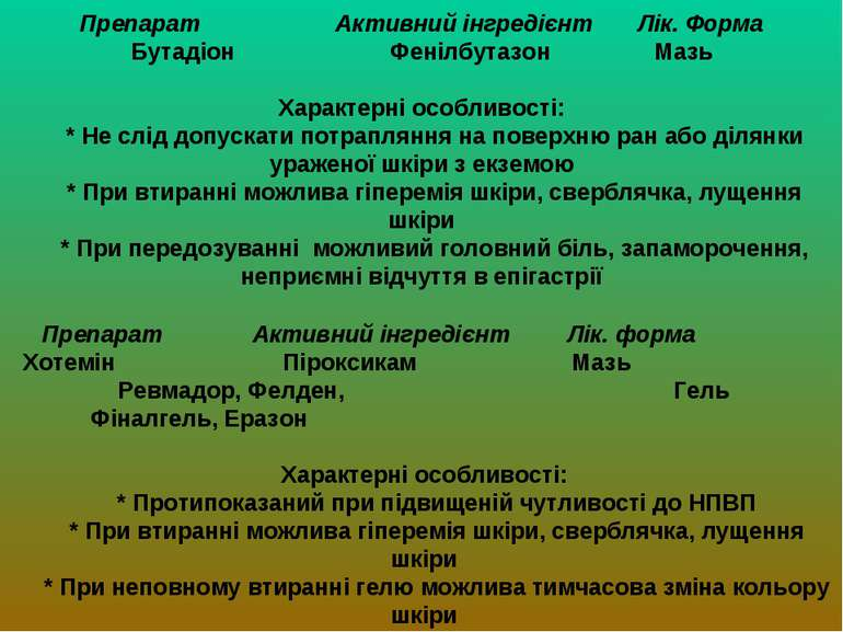 Препарат Активний інгредієнт Лік. Форма Бутадіон Фенілбутазон Мазь Характерні...
