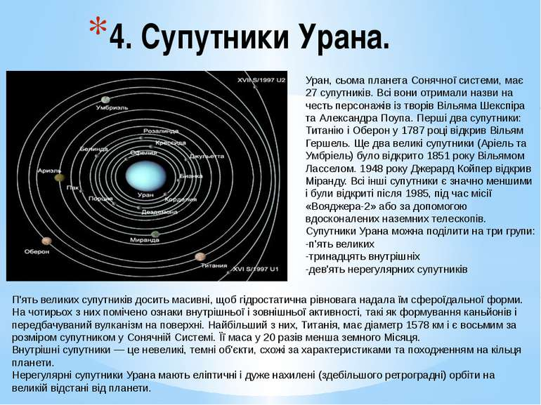 4. Супутники Урана. П'ять великих супутників досить масивні, щоб гідростатичн...