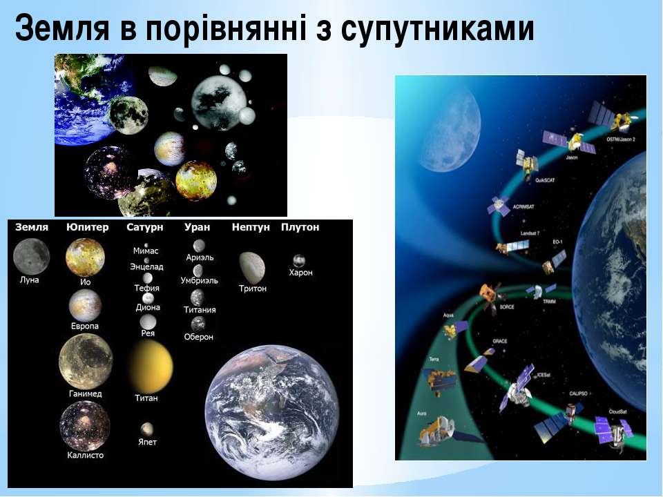 Земля в порівнянні з супутниками