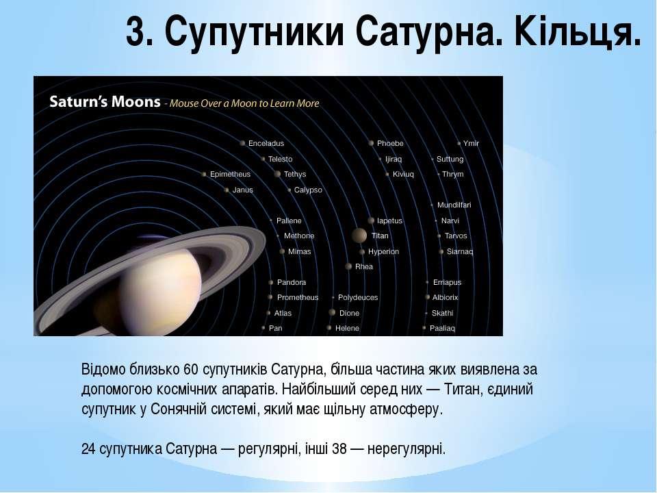 3. Супутники Сатурна. Кільця. Відомо близько 60 супутників Сатурна, більша ча...