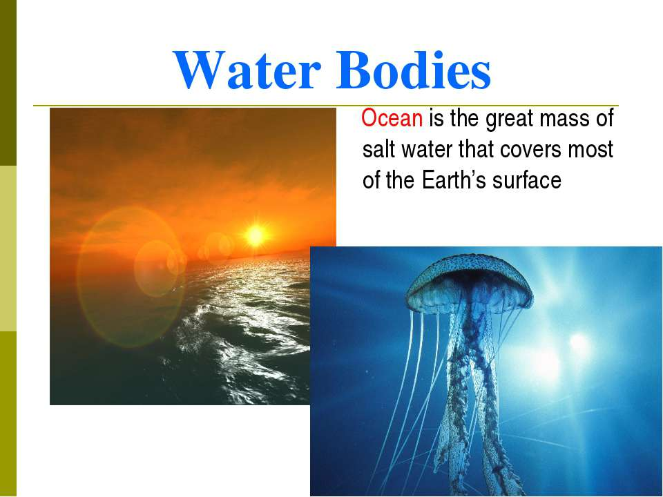 Water Bodies Ocean is the great mass of salt water that covers most of the Ea...