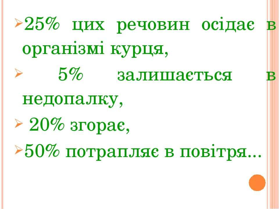 25% цих речовин осідає в організмі курця, 5% залишається в недопалку, 20% зго...