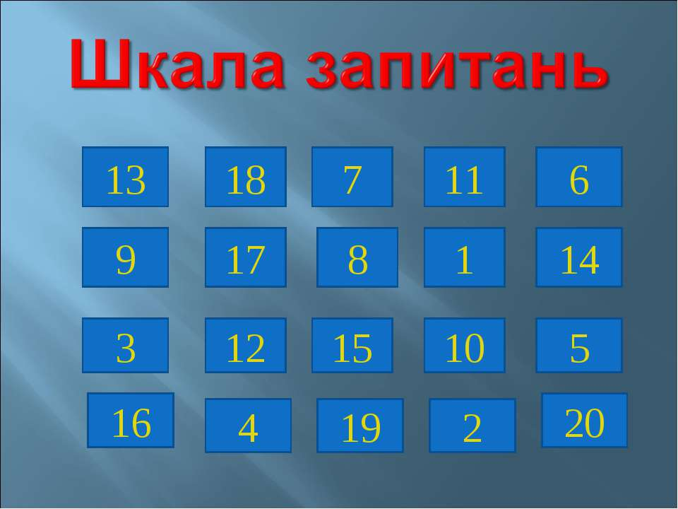 13 18 7 11 6 9 17 8 1 14 3 12 15 10 5 16 2 19 4 20