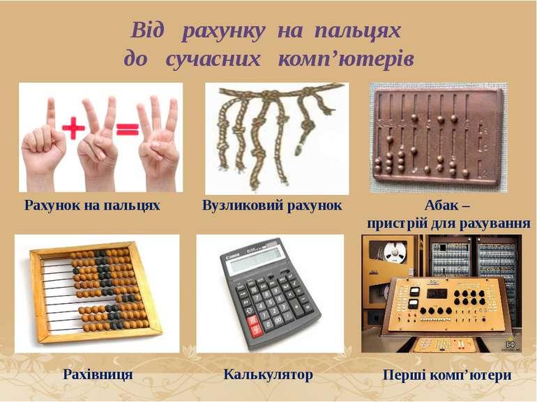 Рахунок на пальцях Вузликовий рахунок Абак – пристрій для рахування Калькулят...