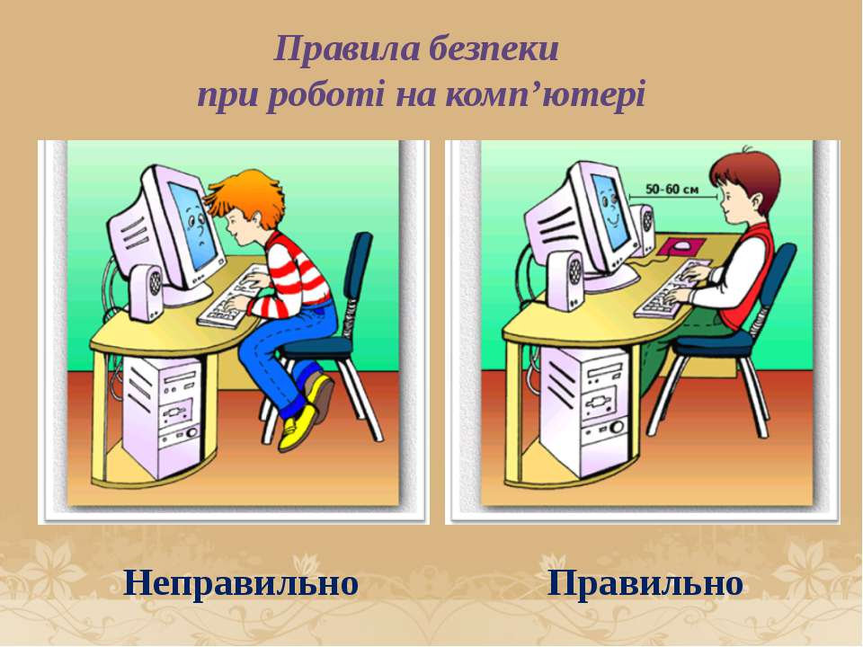 Правила безпеки при роботі на комп'ютері Правильно Неправильно