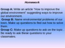 "Homework Group A: Write an article ""How to improve the global environment"" su..."