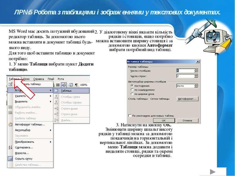 ЛР№5 Робота з таблицями і зображеннями у текстових документах. 2. У діалогово...