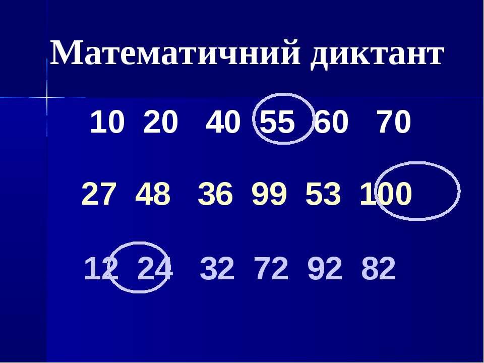 Математичний диктант 10 20 40 55 60 70 12 24 32 72 92 82 27 48 36 99 53 100