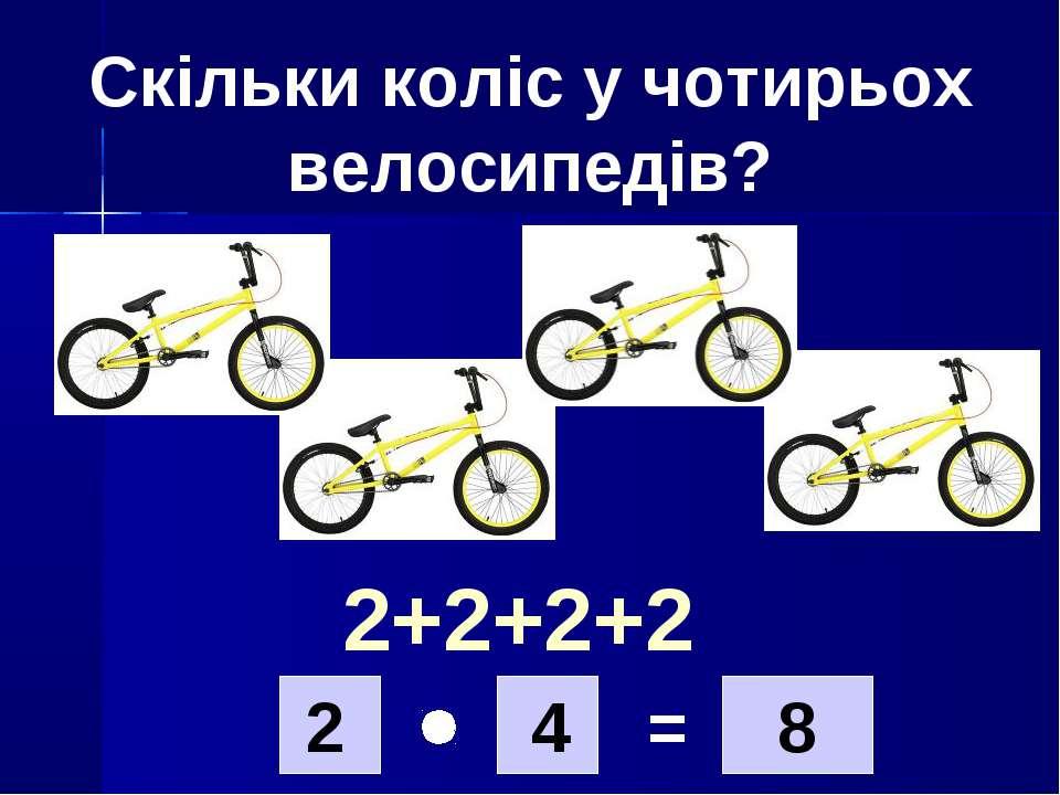 Скільки коліс у чотирьох велосипедів? 2 4 8 = 2+2+2+2
