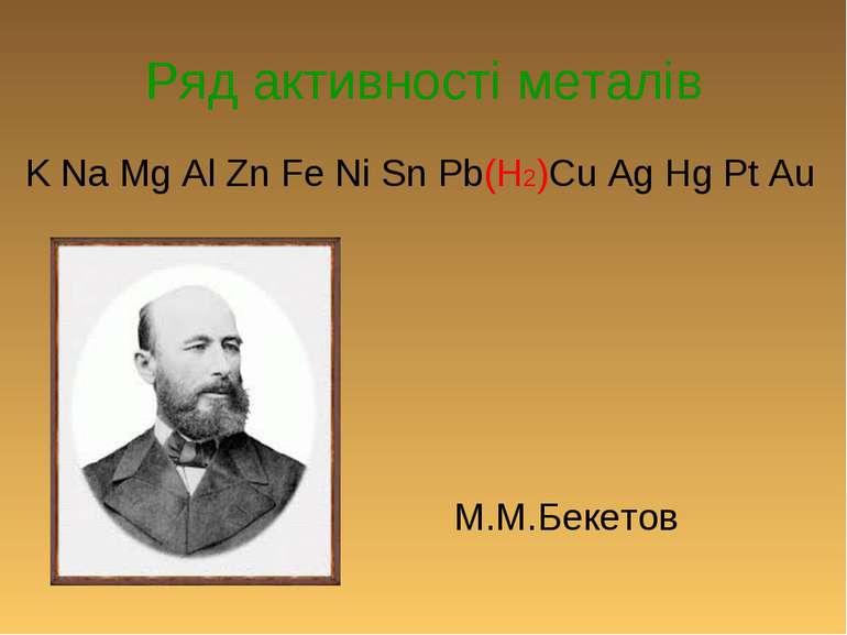 Ряд активності металів K Na Mg Al Zn Fe Ni Sn Pb(H2)Cu Ag Hg Pt Au М.М.Бекетов