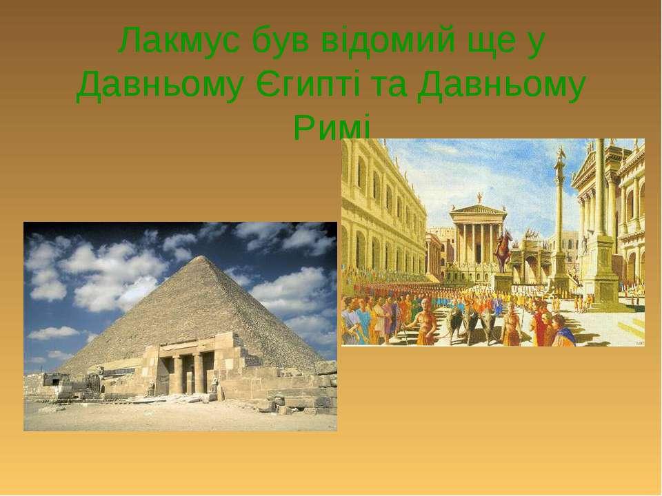 Лакмус був відомий ще у Давньому Єгипті та Давньому Римі