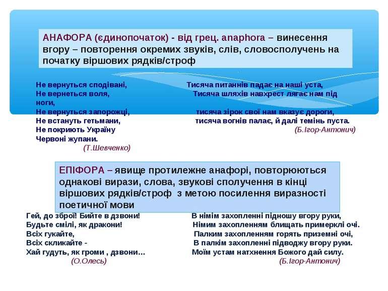 АНАФОРА (єдинопочаток) - від грец. аnaphora – винесення вгору – повторення ок...