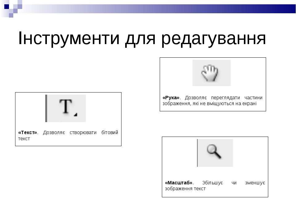 Інструменти для редагування «Текст». Дозволяє створювати бітовий текст «Рука»...