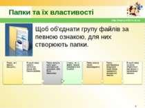 Папки та їх властивості Щоб об'єднати групу файлів за певною ознакою, для них...
