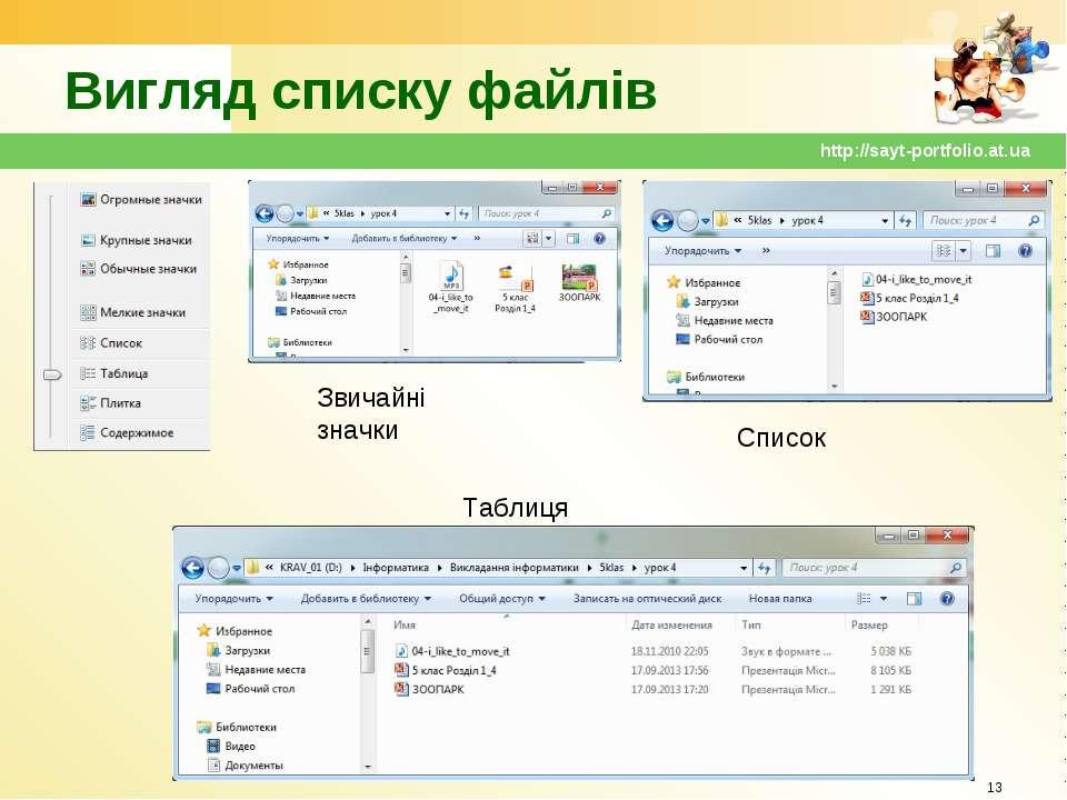 Вигляд списку файлів * http://sayt-portfolio.at.ua Звичайні значки Список Таб...