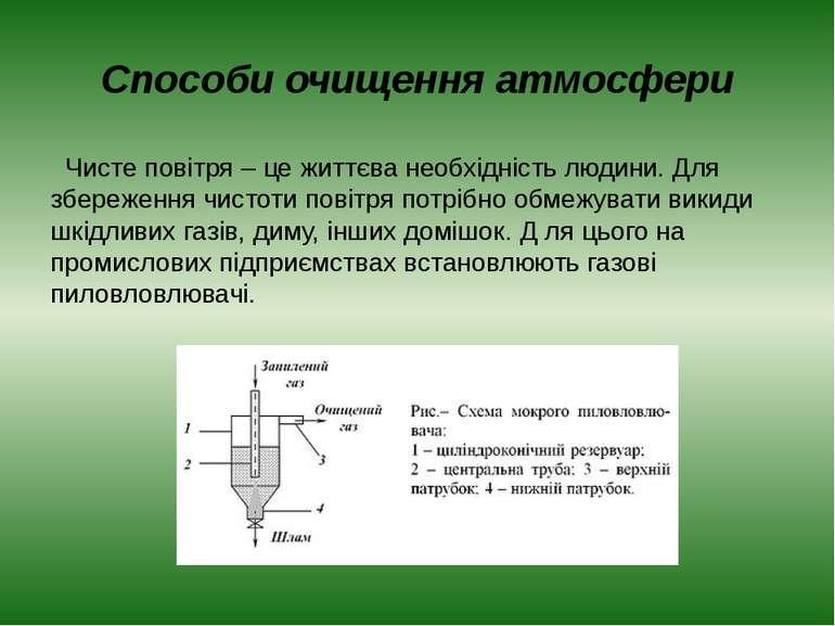 Способи очищення атмосфери Чисте повітря – це життєва необхідність людини. Дл...