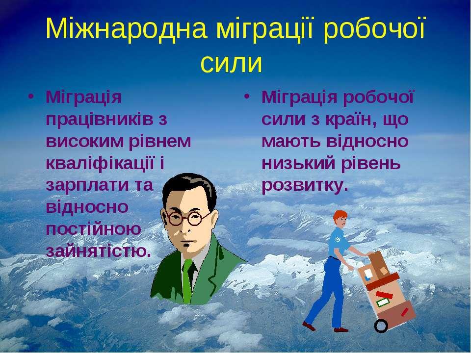 Міжнародна міграції робочої сили Міграція працівників з високим рівнем кваліф...