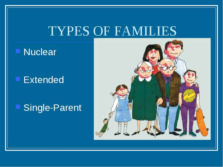 TYPES OF FAMILIES Nuclear Extended Single-Parent