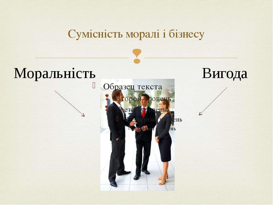 Сумісність моралі і бізнесу Моральність Вигода
