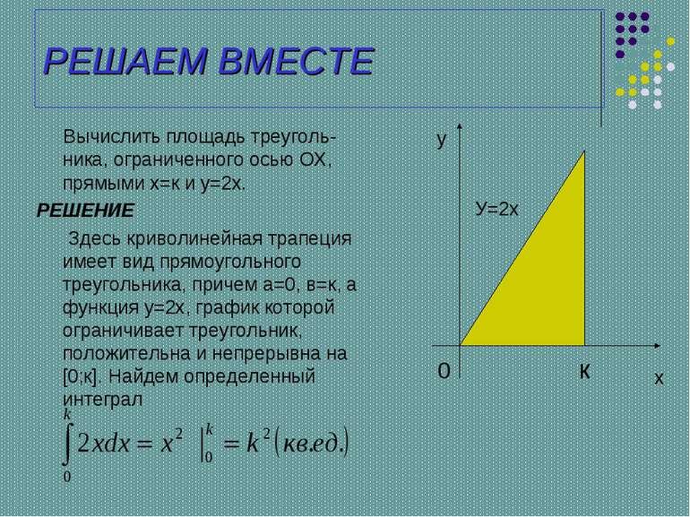 РЕШАЕМ ВМЕСТЕ Вычислить площадь треуголь-ника, ограниченного осью ОХ, прямыми...