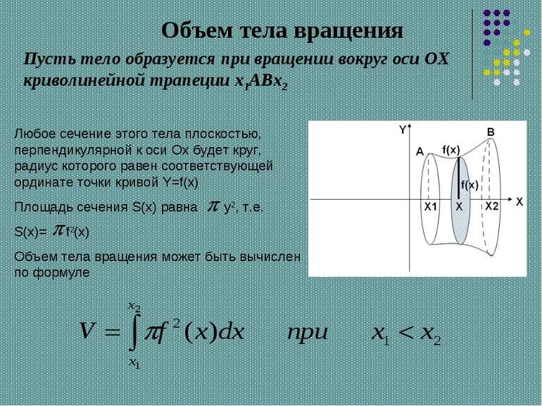 Объем тела вращения Пусть тело образуется при вращении вокруг оси OX криволин...