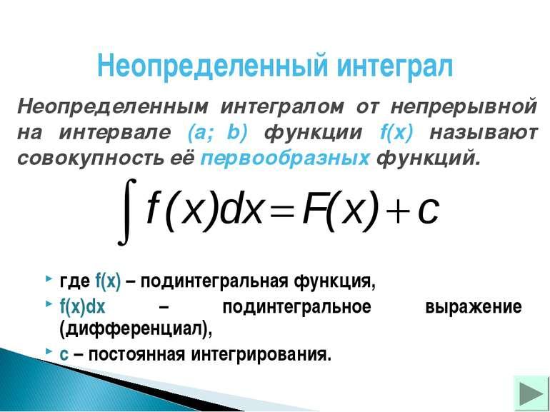 Неопределенный интеграл Неопределенным интегралом от непрерывной на интервале...
