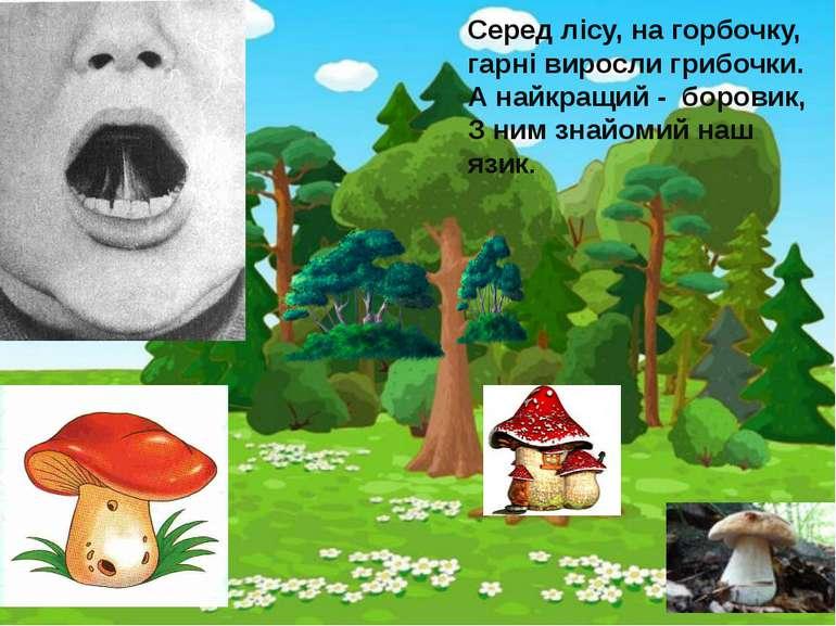 Серед лісу, на горбочку, гарні виросли грибочки. А найкращий - боровик, З ним...