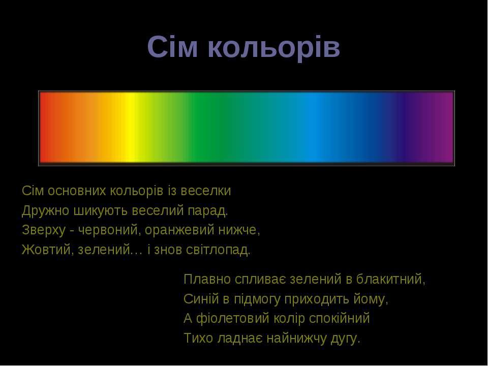 Сім кольорів Сім основних кольорів із веселки Дружно шикують веселий парад. З...